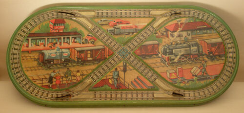 Finotex litho tin plate Greek toy with motives of a railway station of '50s