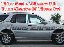 1998-2005 Mercedes ML320 ML400 ML430 Pillar Post+Window Sill Trim Combo Set