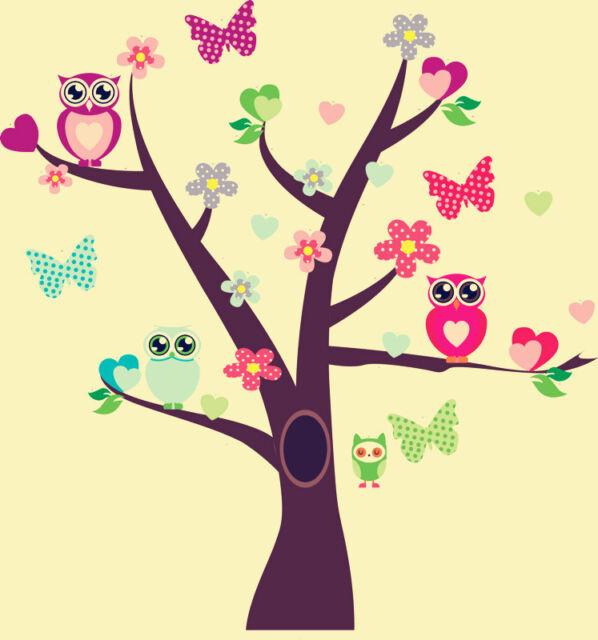 Owl Tree Art Decal Removable Vinyl Stickers kids bedroom Nursery Decor