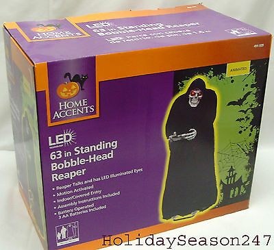 5Ft Bobble Head Reaper W/ LED Eyes Motion Activated Speak Spooky Halloween Prop