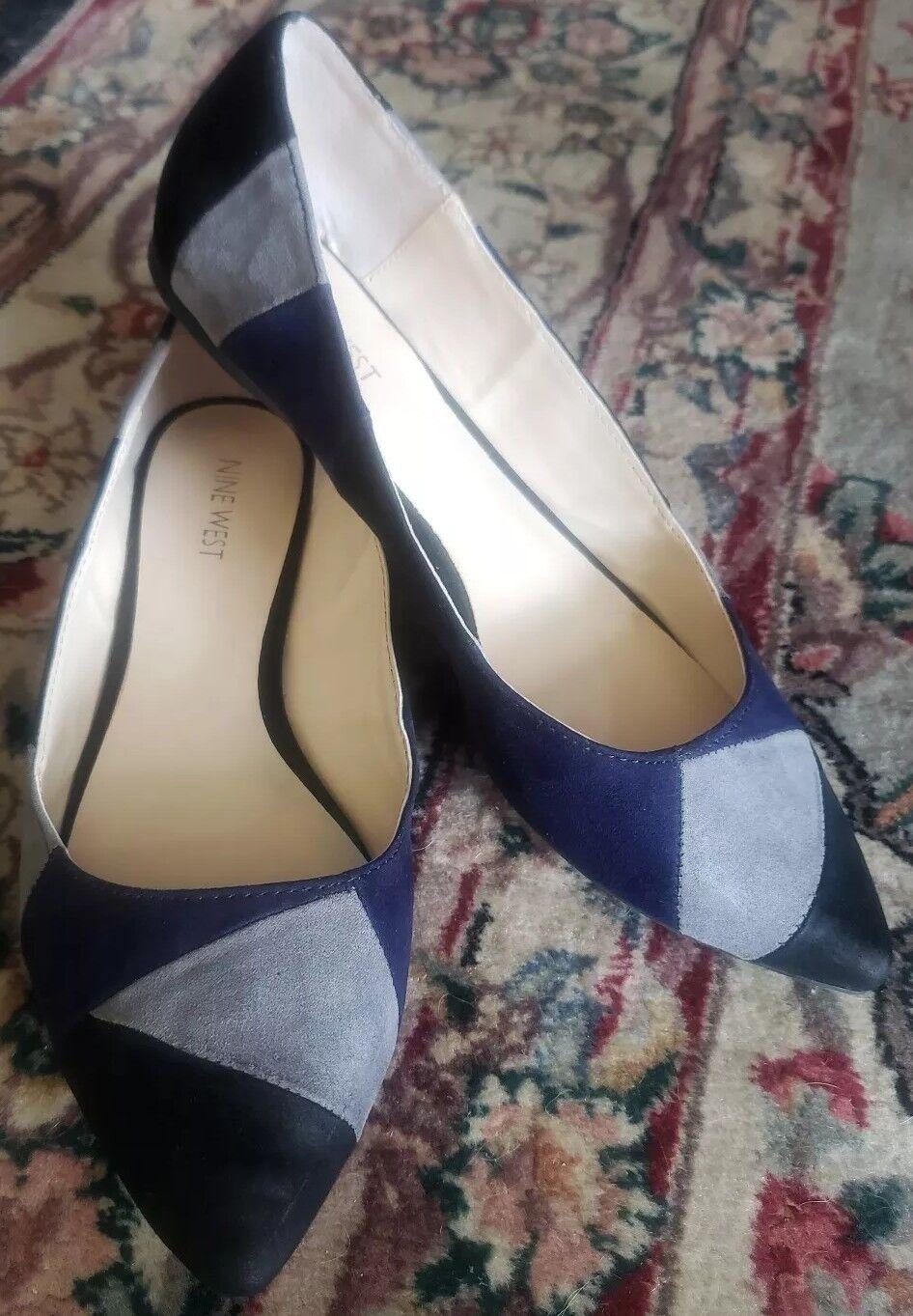 Nine West seguro Puntera Puntiaguda Patchwork Pisos-mujer Pisos-mujer Pisos-mujer 'S Talla 9M Azul gris Negro  Hay más marcas de productos de alta calidad.