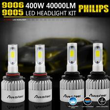 9005 9006 4PCS LED Total 400W 40000LM Combo Headlight High 6000K White Kit Bulbs