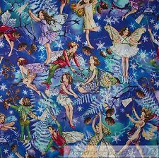 FAIRY FAIRIES FLOWERS WOMEN SWIRLS GLITTER PURPLE COTTON FABRIC FQ