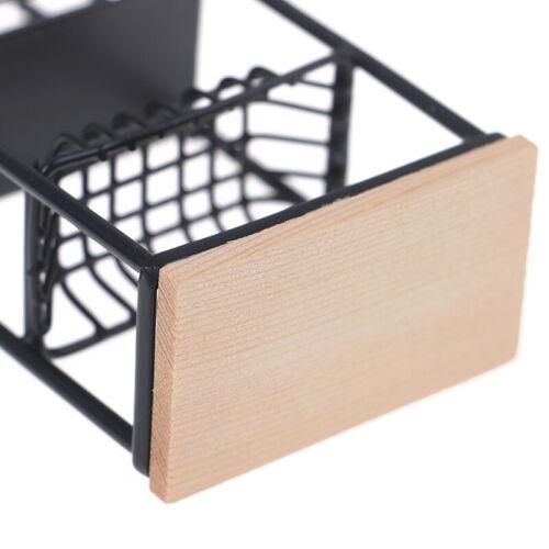 1:12 Doll House Miniature Mini Black Kitchen Side Cabinet Display ShelNWUS