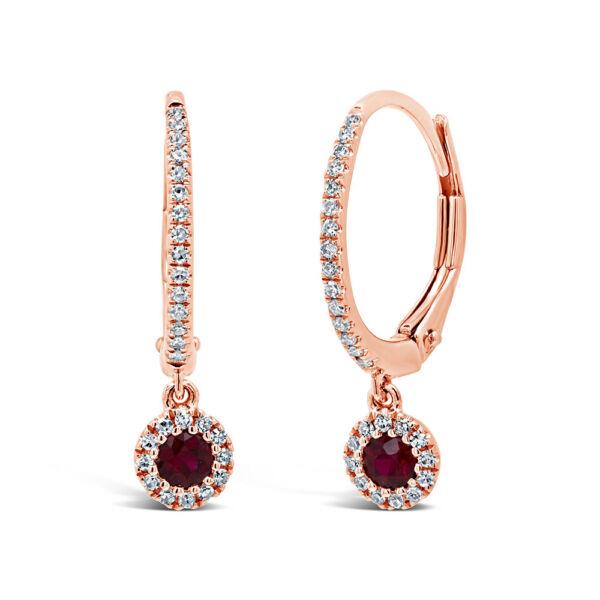 0.35 Gesamt Karat Gewicht 14k Rosegold Natürlich Rund Rubin Echtem Diamant Halo Festsetzung Der Preise Nach ProduktqualitäT