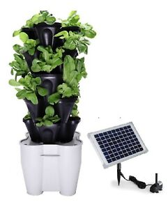 Solar Powered Hydroponic Garden Tower Smart Farm Automated Vertical Garden Kit Ebay
