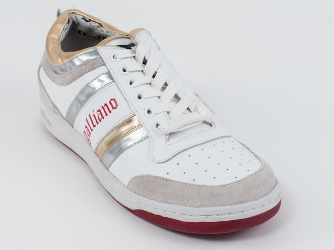 New  Galliano White Leather Sport  shoes Size 42 US 9 Retail  420