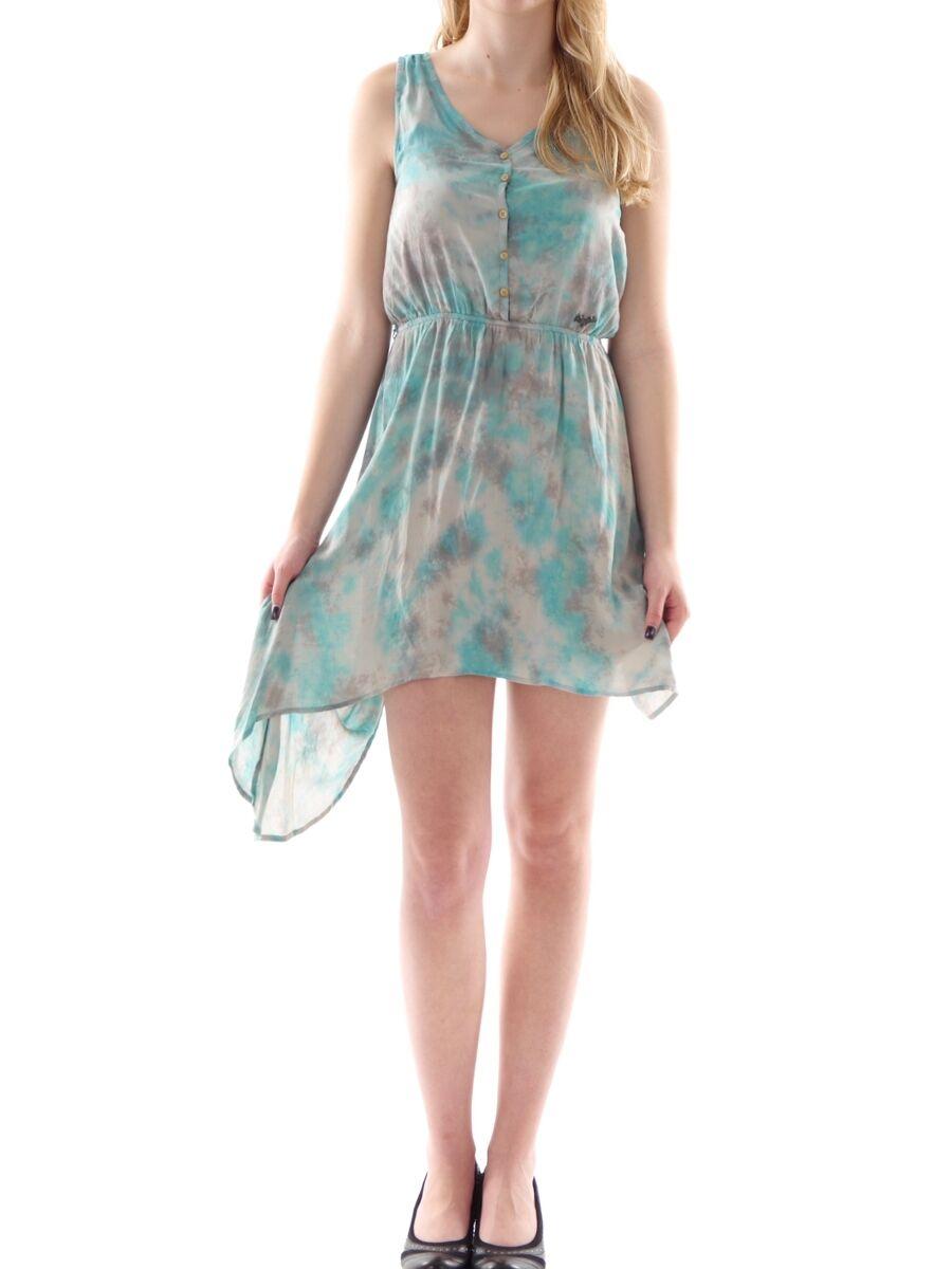 Khujo Kleid Dress Sommerkleid Breg türkis Vokuhila Batik Knöpfe Falten