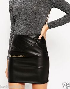 Handmade Women Mini Skirt Hollywood Style 100% Genuine Lambskin Black Leather 22