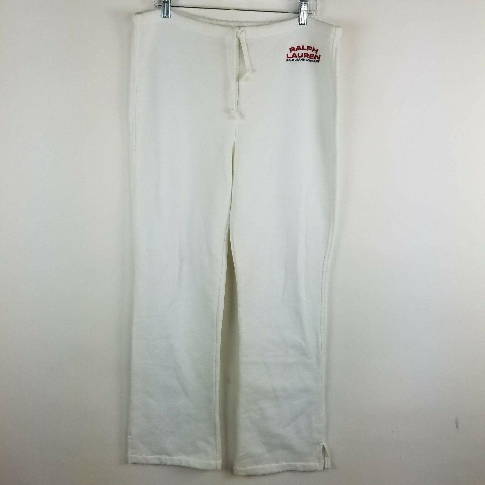 Ralph Lauren Sweat Pants Women's Size Large White Spellout Vintage Wide Leg