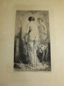 Félix BRACQUEMOND (1833-1914) Gravure ORIGINALE FEMME NUE MIROIR CHAPLIN 1870