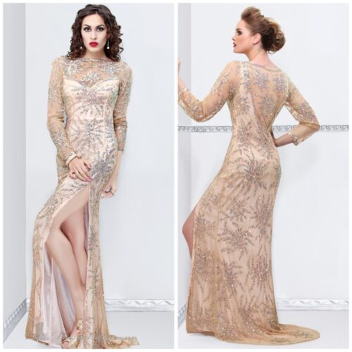 NWT PRIMAVERA COUTURE 9844A  LONG SLEEVE BEADED GOWN IN NUDE $432 AUTENTIC $229