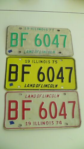 Lot of 3 Vintage Illinois License Plates 1974,75,77