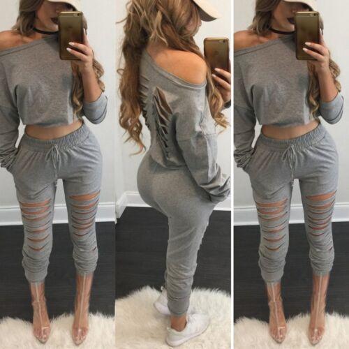 Women Two Pieces Long Sleeve Bodycon Autumn Crop Tops Leggings Pants Set Fashion
