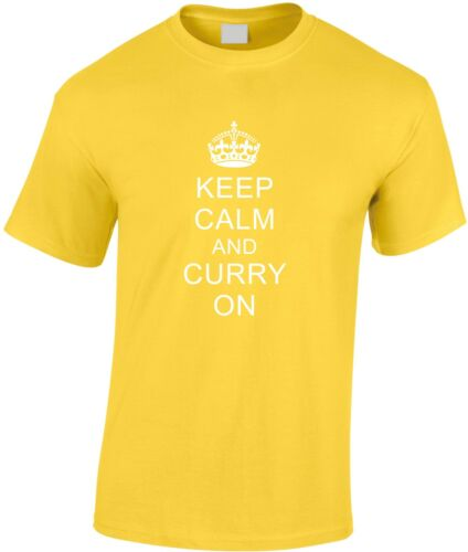Keep Calm And Curry On Children/'s T Shirt Youth Food Humour Take Away Fun Cool