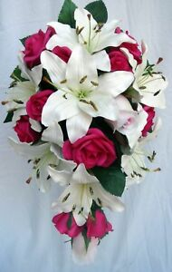 Wedding Bouquet White Lily Fuschia Roses Real Touch Ebay