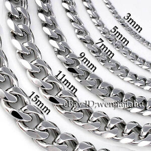 3-19mm-MENS-Boys-Chain-Silver-Tone-Curb-Link-Stainless-Steel-Necklace-14-45-039-039