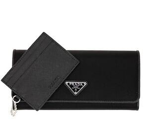 2ab876e2c256 Prada Wallet Saffiano Nylon With Card Case Black New 8058094931894 ...