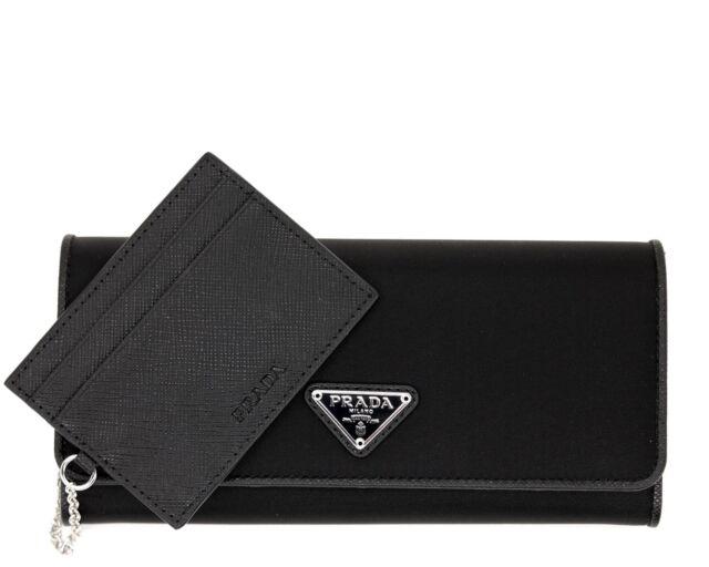 74a582e5aedf PRADA Wallet Saffiano Nylon With Card Case Black for sale online