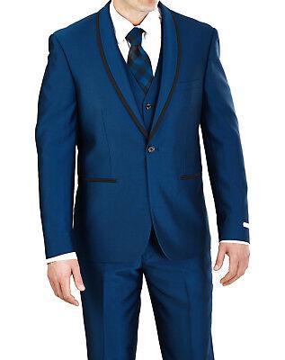 VINCI Men/'s Midnight Blue Shiny Sharkskin 3pc 2 Button Classic Fit Suit NEW