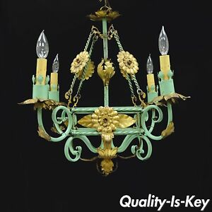 Green gold gilt iron italian hollywood regency chandelier tole image is loading green gold gilt iron italian hollywood regency chandelier mozeypictures Gallery