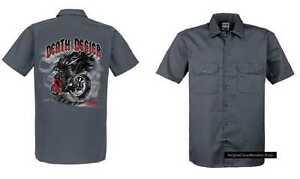 Defier Modell Hd Chopper Worker amp;oldschoolmotiv Shirt Death Biker Grau Vintage C0xz41q