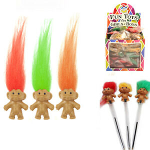3-6-12-Trolls-Pencil-Topper-Mini-Fun-Kids-Party-Bag-Filler-Assorted-Colour-Hair