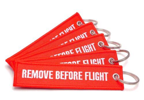 REMOVE BEFORE FLIGHT ® 5er Set Schlüsselanhänger in ROTRBF-501