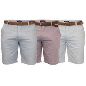 Mens-Cotton-Oxford-Chino-Shorts-Threadbare-Belted-Pants-Knee-Length-Summer-New