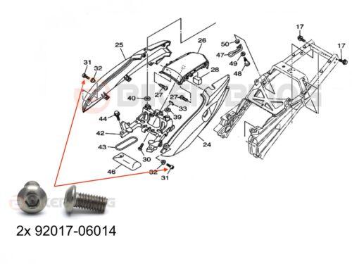 10x Yamaha TDM 900 2002-2010 stainless steel rear fairing bolts 92017-06014