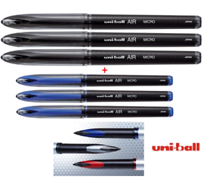 Humble Uni-ball Air Micro 0.5 Mm Fine Stylo à Bille Uba-188-m 3x Noir + 3x Bleu Pack De 6-afficher Le Titre D'origine Texture Nette