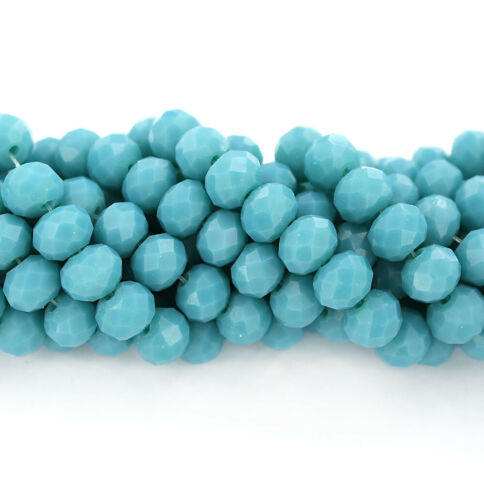1 Strand 71 Beads Faceted Glass Beads 8mm x 6mm BD1657 Turquoise Blue