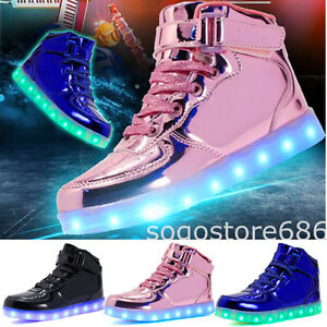 reputable site a94ae 24734 Image is loading Women-Kids-LED-Light-Up-Shoes-USB-Sneakers-