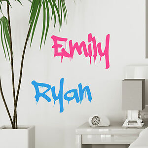 Image is loading Personalised-Graffiti-Wall-Name-Custom-Boys-or-Girls-  sc 1 st  eBay & Personalised Graffiti Wall Name Custom Boys or Girls Bedroom Vinyl ...