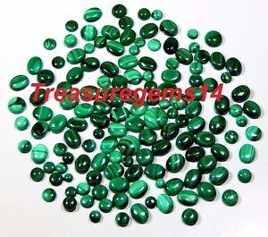 150CT-WHOLESALE-LOT-100-NATURAL-GREEN-MALACHITE-CALIBRATED-MIX-CABOCHON-GEMSTONE