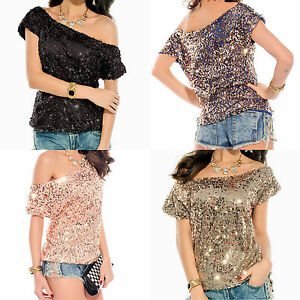 07081daa29727 Image is loading Glittery-Celebrity-Style-Off-Shoulder-Sequin-Top-Blouse-