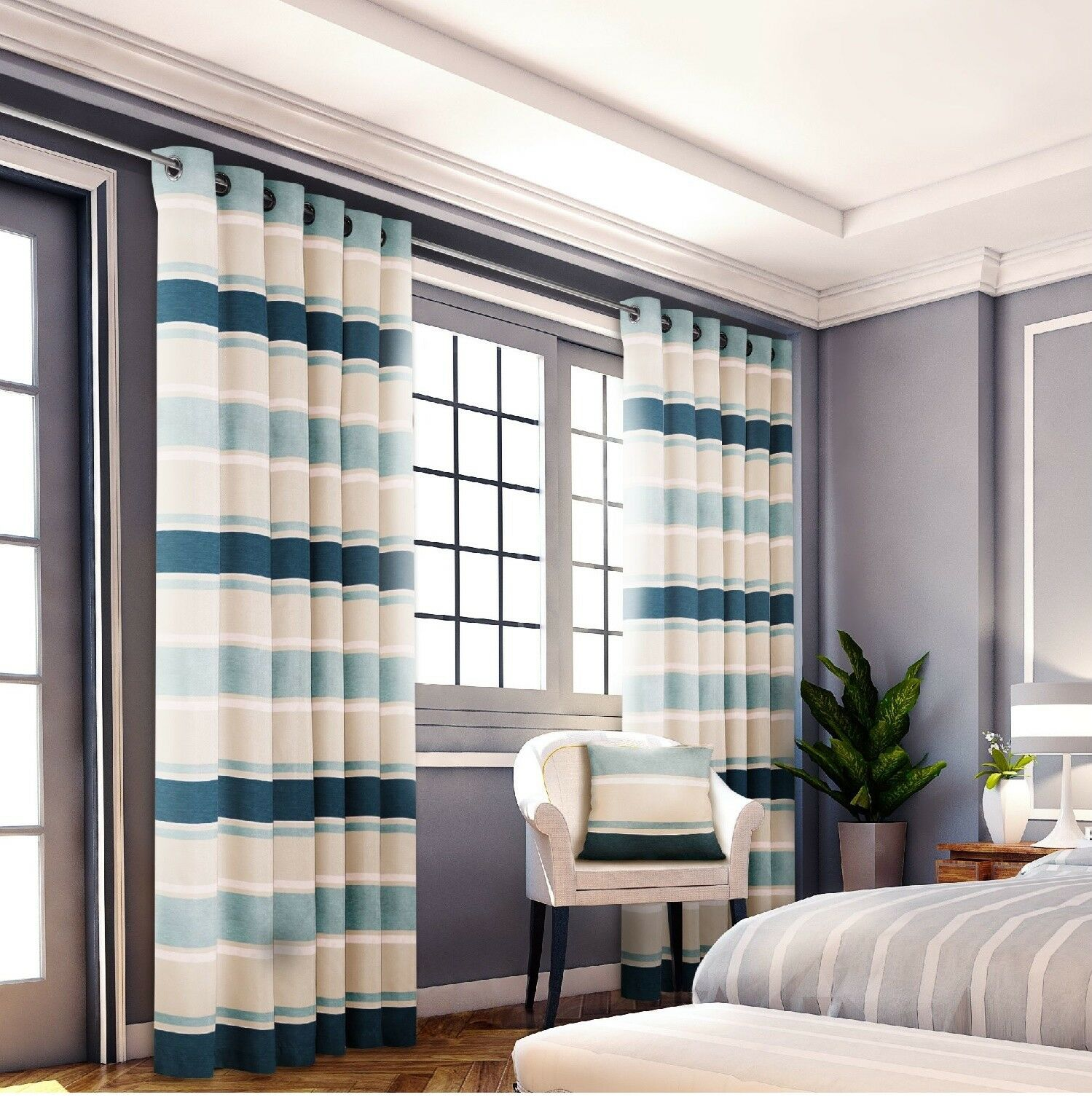House Additions Philip Lined Eyelet Curtain Panel, Teal, 167cm x 229cm