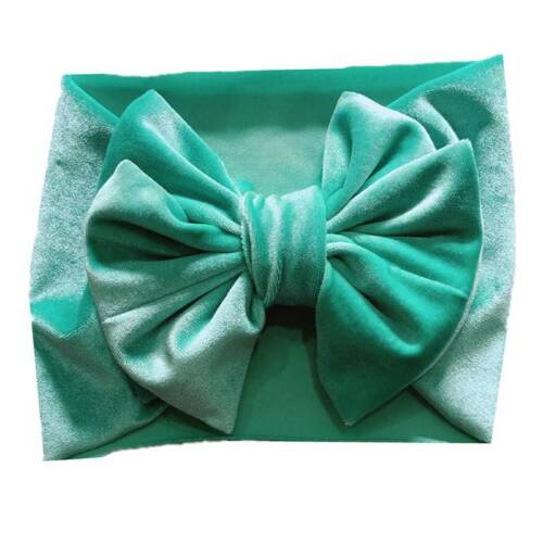 Baby Toddler Girls Kids Velvet Bow Hairband Headband Elastic Turban Headwrap UK