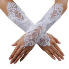 White Bride Wedding Party Dress Fingerless Pearl Lace Satin Bridal Gloves