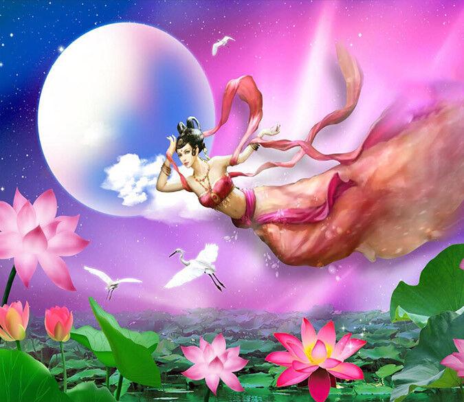 3D Fairy Moon Lotus 75 Wall Paper Murals Wall Print Wall Wallpaper Mural AU Kyra