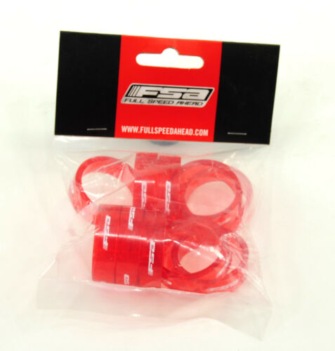 "SET OF 10 FSA Transparent Red HEADSET SPACERS 1-1//8/"" x 10mm"