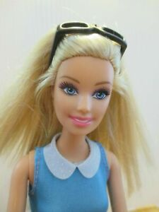 Barbie-Doll-Long-blonde-hair-Blue-dress-White-high-heel-Boots-amp-sunglasses