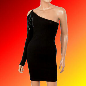 Sexy-Black-One-Off-Cold-Open-Shoulder-Midi-Evening-Party-Dress-6-8-10-12-14