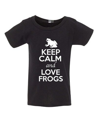 Keep Calm And Love Frogs Toad Jump Animal Lover Funny Toddler Kids T-Shirt Tee