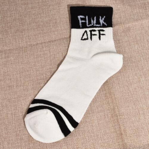 Fashion Men Women Letters Print Funny Casual Sport White Black Skateboard Socks