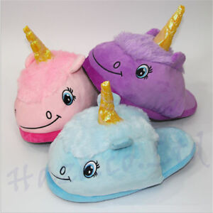 Dessin-anime-Farci-Licorne-Peluche-Hiver-Chaud-Chaussons-Interieur-Chaussures