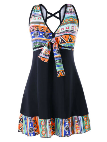 Plus Size Geometric Swing Tankini SwimSuits Two Pieces Swimsuit Bathing Suits