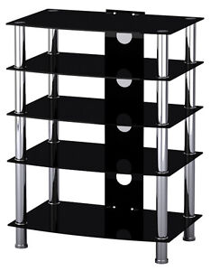 Black-Glass-Stainless-Steel-TV-Media-Entertainment-Unit-HiFi-or-TV-Stand-42