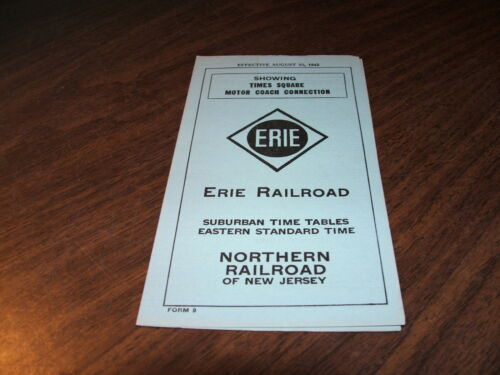 AUGUST 1942 ERIE RAILROAD FORM 9 NORTHERN RAILROAD OF NEW JERSEY