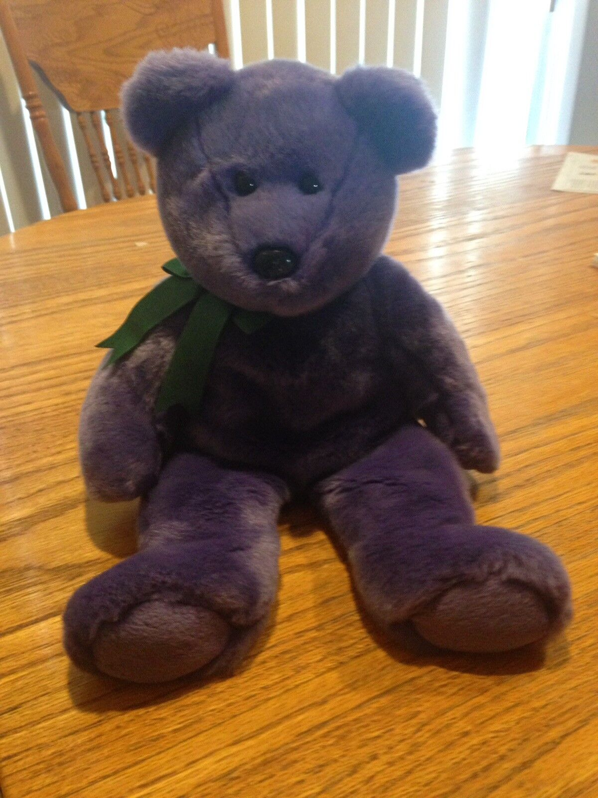 AUTHENTICATED ty employee beanie baby bear purple w green bow RARE
